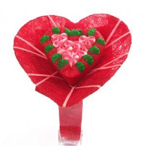 bouquet bonbons coeur rouge