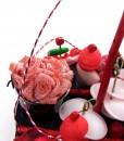 centre de table en bonbons pot de rose
