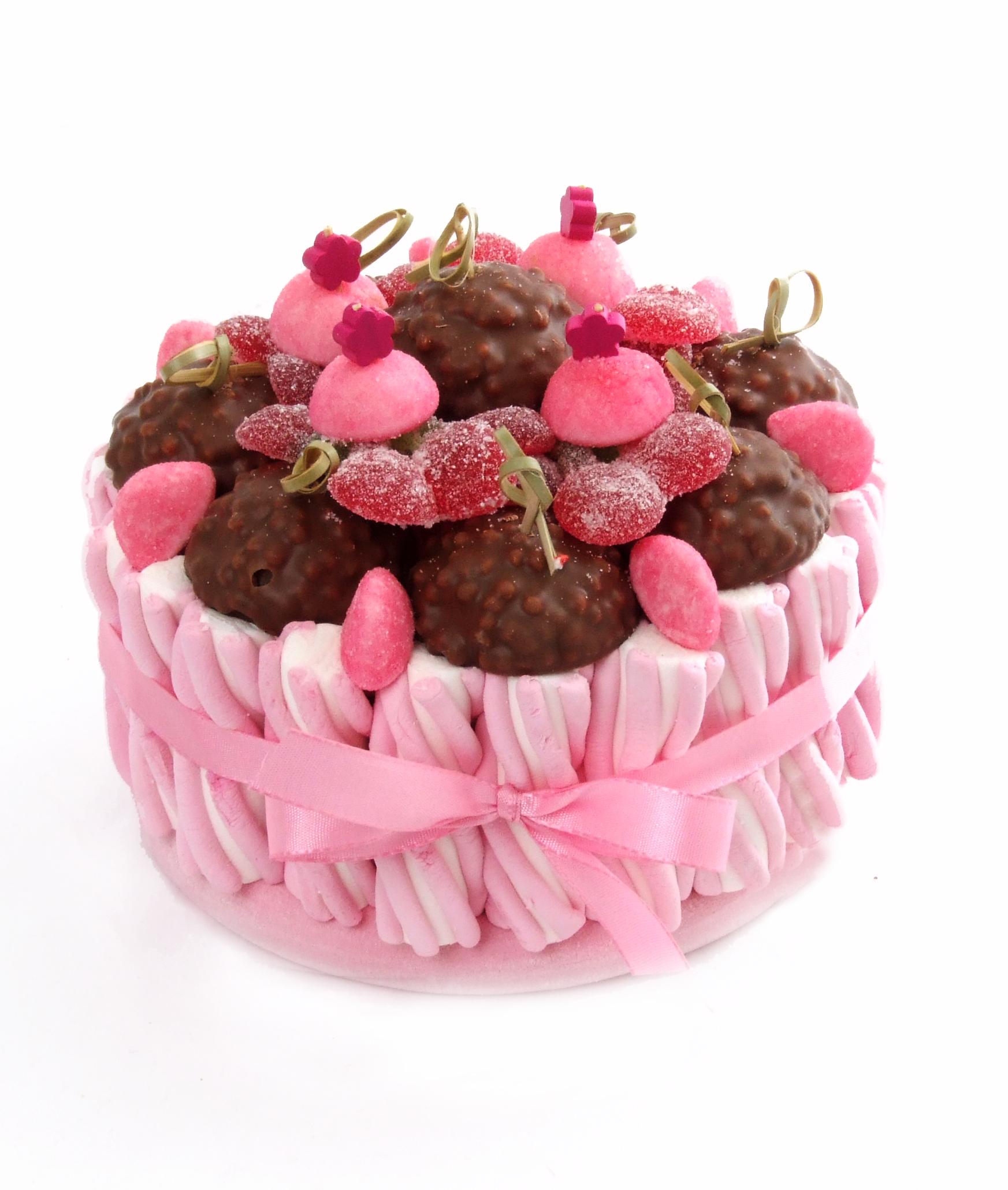 G teau bonbons rose h risson chocolat mongateaudebonbons - Gateau en bonbon ...